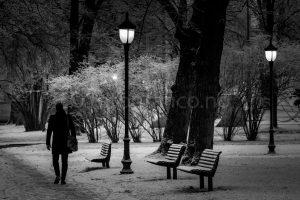mann park mørkt vinter gatelykt